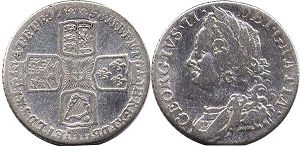 coin UK old coin 1 shilling 1758