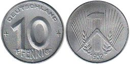 coin Germany DDR 10 pfennig 1952