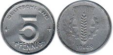 coin Germany DDR 5 pfennig 1948