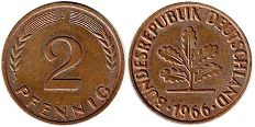 coin Germany 2 pfennig 1966