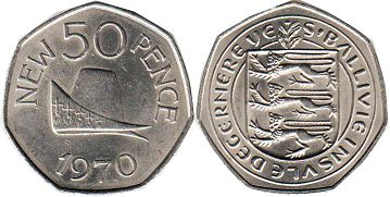coin Guernsey 50 new pence 1970