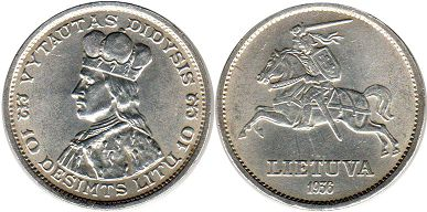 coin Lithuania 10 lit 1936