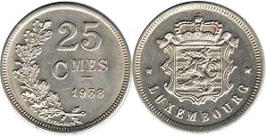 coin Luxembourg 25 centimes 1938