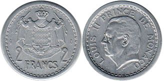 coin Monaco 2 francs ND (1943)