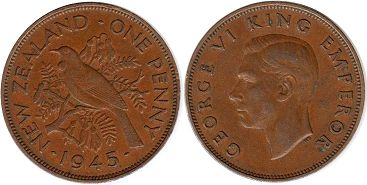 coin New Zealand 1 penny 1945