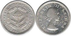 old coin South Africa 6 pence 1954