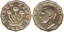 coin UK coin 3 pence 1952