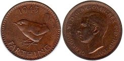 coin UK coin farthing 1943