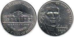 US moneda 5 centavos 2006 Jefferson nickel