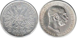 coin Austrian Empire 2 corona 1913