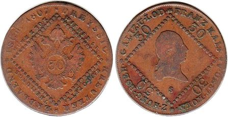 coin Austrian Empire 30 kreuzer 1807