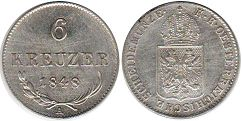 coin Austrian Empire 6 kreuzer 1848