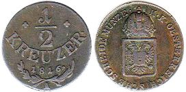 coin Austrian Empire 1/2 kreuzer 1816