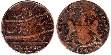 coin Madras Presidency 20 cash 1803