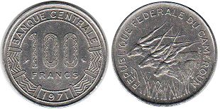 coin Cameroon 100 francs 1971