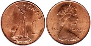 coin Gambia 1 penny 1966