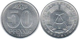 coin East Germany 50 pfennig 1973