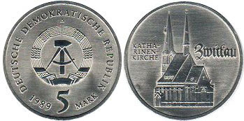 coin East Germany 5 mark 1989