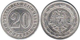 coin German Empire 20 pfennig 1888