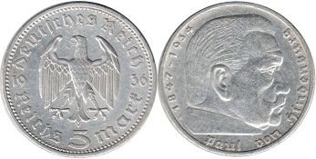 coin Nazi Germany 5 mark 1936