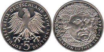 coin Germany BDR 5 mark 1983