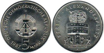 coin East Germany 5 mark 1987