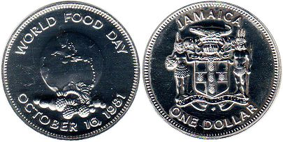 coin Jamaica 1 dollar 1981