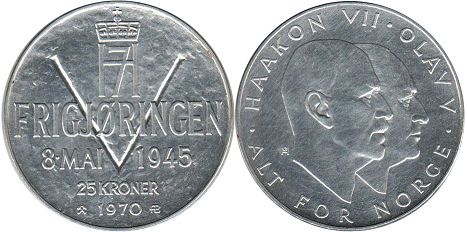 coin Norway 25 kroner 1970