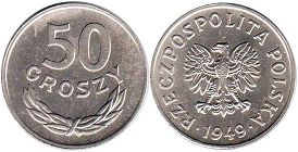 coin Poland 50 groszy 1949