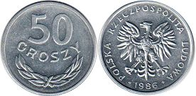 coin Poland 50 groszy 1986
