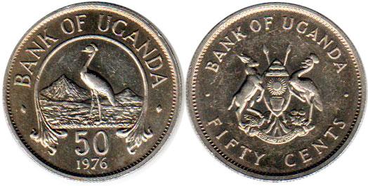 Animals coin km4a Uganda 50 Cents 1976