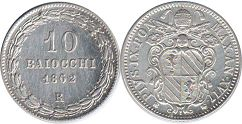 coin Papal State 10 baiocchi 1862