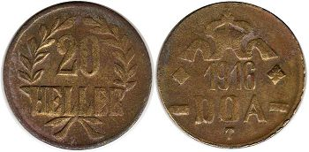 coin German East Africa 20 heller DOA
