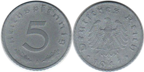 2 Reichsmark 5 Set of Germany 8 coins 10 pfennig with Swastika-N23 2 1