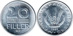 coin Hungary 20 filler 1983