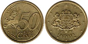 coin Latvia 50 euro cent 2014
