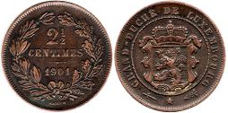 coin Luxembourg 2,5 centimes 1901