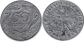 coin Poland 50 groszy 1938