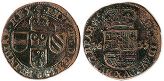 coin Spanish Netherlands oord 1655
