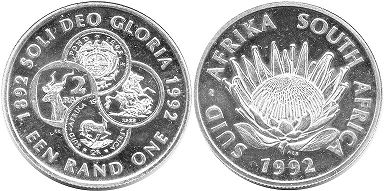 coin South Africa 1 rand 1992