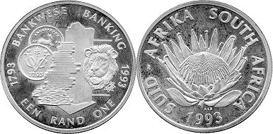 coin South Africa 1 rand 1993