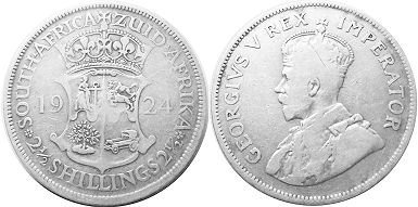 old coin South Africa 2,5 shillings 1924