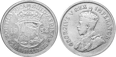 old coin South Africa 2,5 shillings 1934