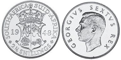old coin South Africa 2,5 shillings 1948