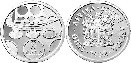 coin South Africa 2 rand 1992