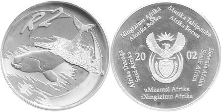 coin South Africa 2 rand 2002