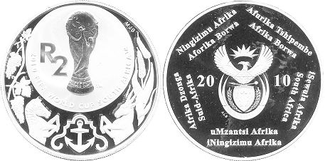 coin South Africa 2 rand 2010