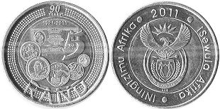 coin South Africa 5 rand 2011