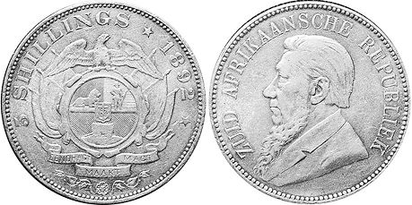 old coin South Africa 5 shillings 1892