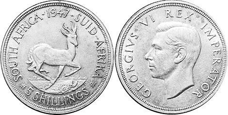 old coin South Africa 5 shillings 1947